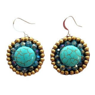 Thai-handicraft Gold-tone Turquoise and Blue Crystal Earrings (Thailand)