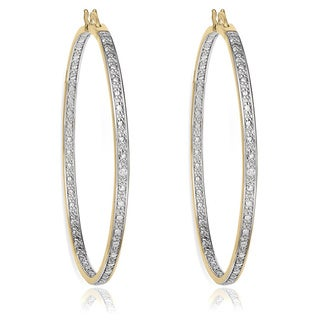 Finesque Sterling Silver Diamond Accent Hoop Earrings with Red Bow Gift Box