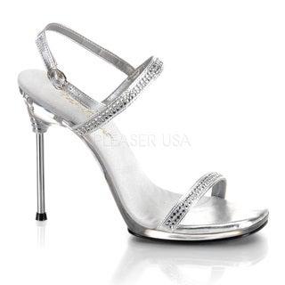 Pleaser Women's 'Chic-17' Silver Rhinestone Stiletto Sandals
