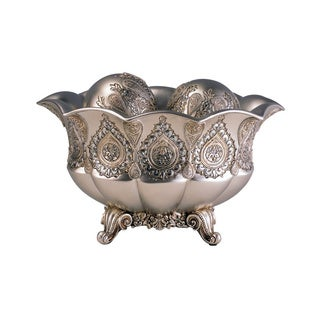 7'H Traditional Royal Silver and Gold Metalic Decorative Bowl with Spheres