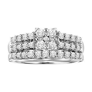Cambridge Sterling Silver 3/4ct Princess Diamond Bridal Ring Set (I-J, I2-I3)