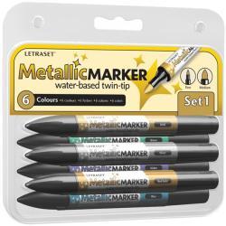 Letraset Metallic Marker Twin-Tip 6/Pkg - Set 1
