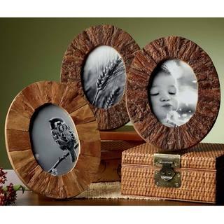 Rustic Tree Bark Wood 4x6-inch Oval Frames Set of 3
