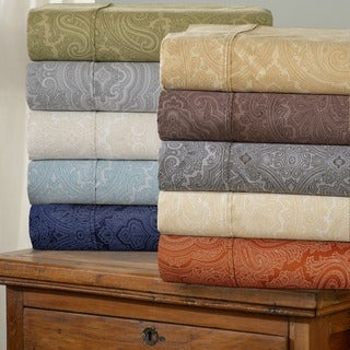 Luxor Treasures Italian Paisley 600 Thread Count Cotton Blend Deep Pocket Sheet Set and Pillowcase S