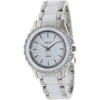 DKNY Women's NY8818 'Chambers' Crystal Two Tone Ceramic Watch