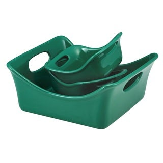 Rachael Ray Stoneware 3-piece Dark Green Square Baker and Au Gratin Bubble & Brown Set