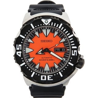 SEIKO Men's Diver's Automatic Orange Dial Black Rubber Strap Watch - SRP315