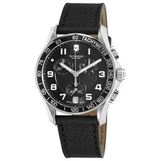 Victorinox Swiss Army Men's Chrono Classic 241493 Black Calf Skin Swiss Quartz Watch