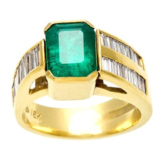Pre-owned 18k Gold Emerald and 1ct TDW Diamond Estate Ring (I-J, VS1-VS2)
