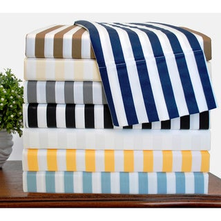 Luxor Treasures Cabana Striped 600 Thread Count Cotton Blend Sheet Set