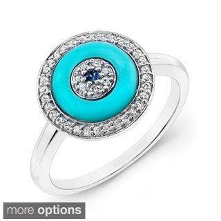 14k Rose Gold 1/6ct TDW Evil Eye Sapphire and Diamond Ring (I-J, I1-I2)