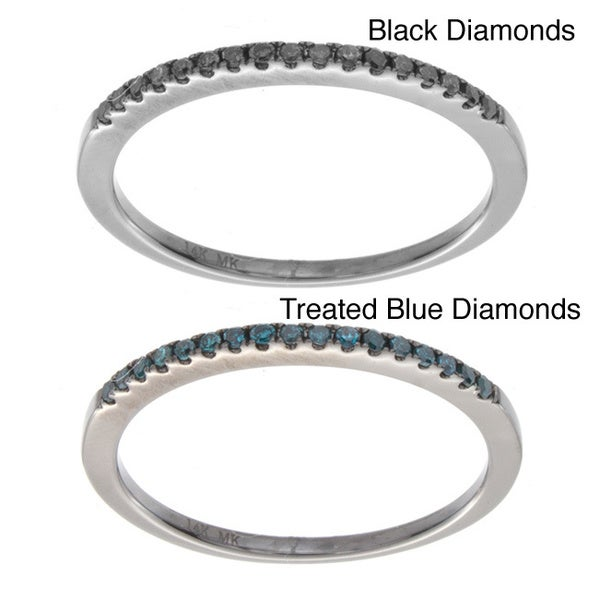 14k White Gold 1/10ct TDW Stackable Black or Blue Diamond Ring