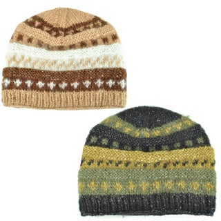 Layer Mohair Wool Hand-knit Winter Hat (Nepal)