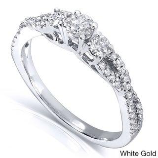 Annello 14k Gold 2/5ct TDW Three Stone Braided Diamond Ring (H-I, I1-I2)