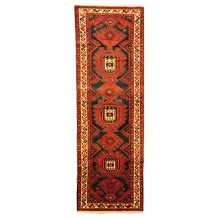 Persian Hand-knotted Hamadan Navy/ Ivory Wool Rug (3'4 x 10'1)