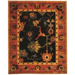 Safavieh Hand-knotted Ancient Weave Black/ Red Wool Rug (9' x 12')