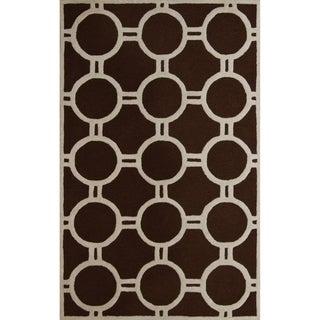 Safavieh Handmade Contemporary Moroccan Cambridge Dark Brown/ Ivory Wool Rug (9' x 12')