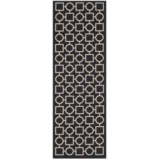 Safavieh Indoor/ Outdoor Courtyard Black/ Beige Polypropylene Rug (2'3 x 6'7)