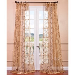 EFF Alegra Gold Embroidered Sheer Curtain Panel