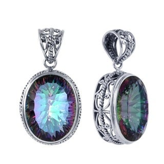Sterling Silver Bali Faceted Oval Mystic Topaz Raised Bezel Pendant (Indonesia)