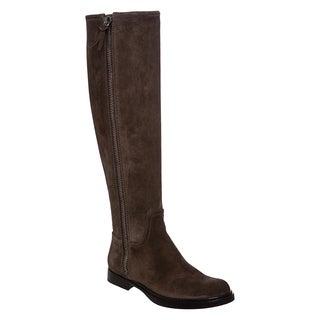 MIu Miu Women's Graphite Suede Side Zip Knee-high Boots