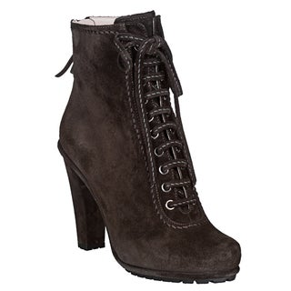 Miu Miu Women's Dark Grey Suede Lace-up Ankle Boots