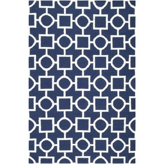 Safavieh Hand-woven Moroccan Reversible Dhurrie Navy/ Ivory Wool Rug (9' x 12')