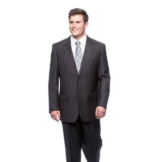 Men's Blue Modern Fit Two-Button Suit with Notched Collar