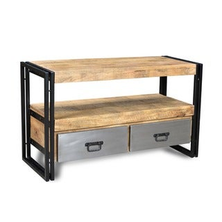 Timbergirl Handmade Reclaimed Wood TV Cabinet and Metal Drawers (India)