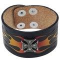 Vance Men's Leather Iron Cross Bracelet