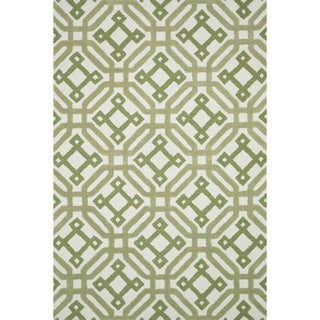 Hand-tufted Tatum Ivory/ Green Wool Rug (5'0 x 7'6)