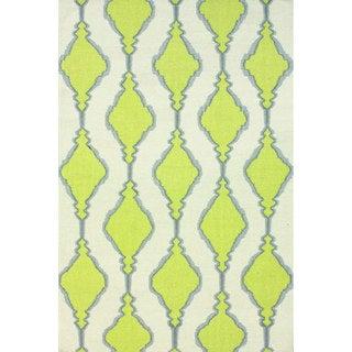 nuLOOM Handmade Flatweave Wool Trellis Green Rug (8'6 x 11'6)