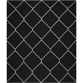Safavieh Hand-woven Moroccan Reversible Dhurrie Black/ Ivory Wool Rug (9' x 12')