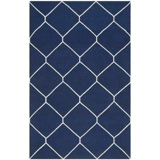 Safavieh Handwoven Moroccan Reversible Dhurrie Navy/ Ivory Wool Geometric Area Rug (9' x 12')
