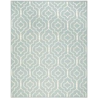 Safavieh Handwoven Moroccan Reversible Dhurrie Trellis-pattern Light Blue/ Ivory Wool Rug (9' x 12')