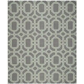 Safavieh Hand-woven Moroccan Reversible Dhurrie Grey/ Light Blue Wool Rug (8' x 10')
