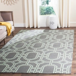 Safavieh Hand-woven Moroccan Reversible Dhurrie Grey/ Light Blue Wool Rug (9' x 12')