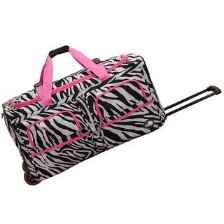 Rockland Deluxe Pink Zebra Mobilizer Lightweight 30-inch Rolling Duffel Bag