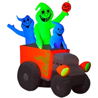 Halloween Airblown Inflatable Neon Hot Rod Ghosts