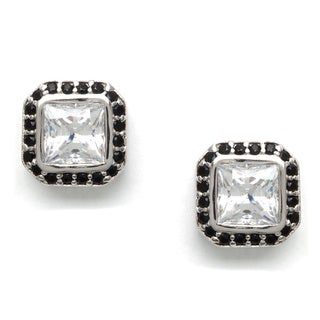 Sunstone Sterling Silver Square Cut Earrings made with Swarovski Zirconia with Gift Box