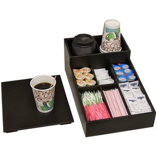 Black Leather Coffee Condiment Organizer