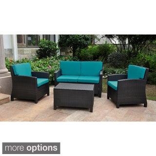 Lisbon Resin Wicker International Caravan Outdoor Settee Group with Corded Cushions (Set of 4)