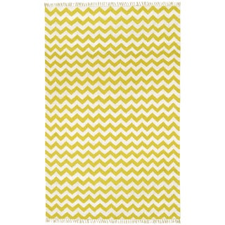 Hand-woven Yellow Electro Flatweave Wool Rug (9' x 12')
