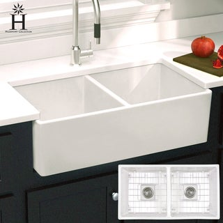 Highpoint Collection Double Bowl Fireclay Farmhouse Sink