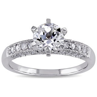 1/4 CT Diamond TW And 1 3/8 CT TGW Created White Sapphire Fashion Ring 10k White Gold GH I2;I3
