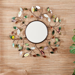 Upton Home Leah Decorative Metallic Leaf Wall Mirror