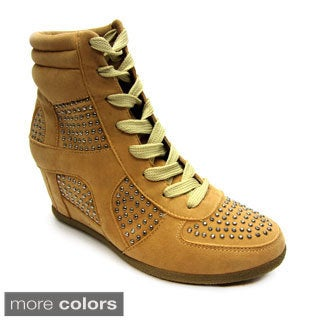 Blue Women's 'Rancho' Studded Wedge Sneakers