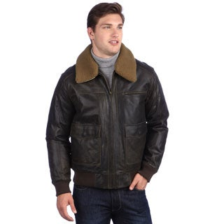 United Face Men's Brown Distressed Leather Bomber Jacket
