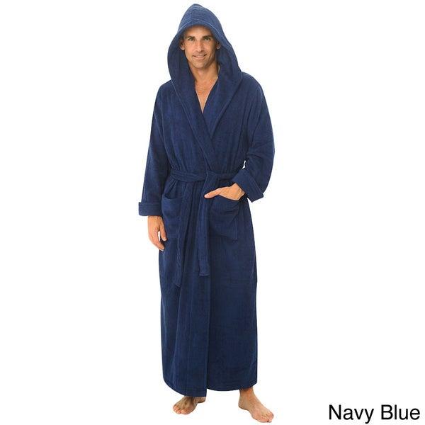 Del Rossa Men's Full Length Hooded Terry Cotton Bath Robe