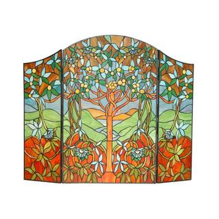 Tiffany-style Tree of Life Design Fireplace Screen